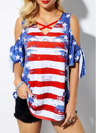 TIFENNY Mens Summer Independence Day Shirt American Flag Printed Short-Sleeved Shirts Button Fashion Blouse Tops