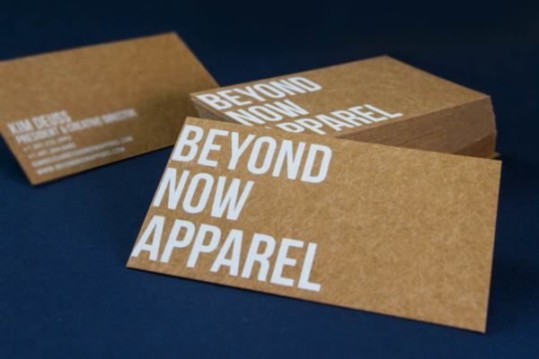 Beyond Now Business Cards Produced On Dark Brown Kraft And White Silkscreen Printing Business Cards Kraft Business Cards Brown Business Card