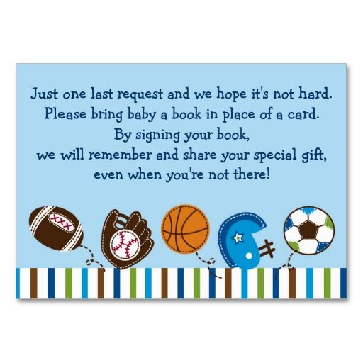 Sports Baby Shower Book Request Cards Business Card Templates