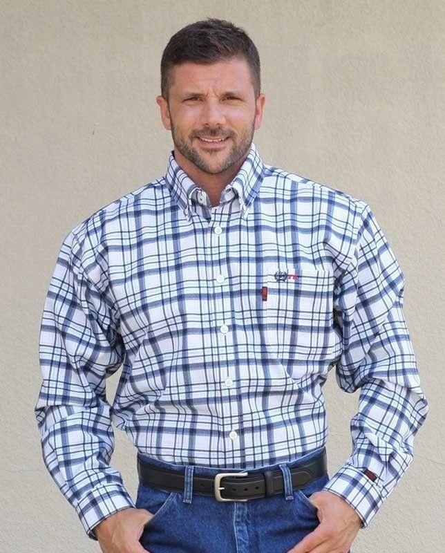 bae993e15220 Cinch Men s Wrx Flame Resistant Navy Plaid Work Shirt