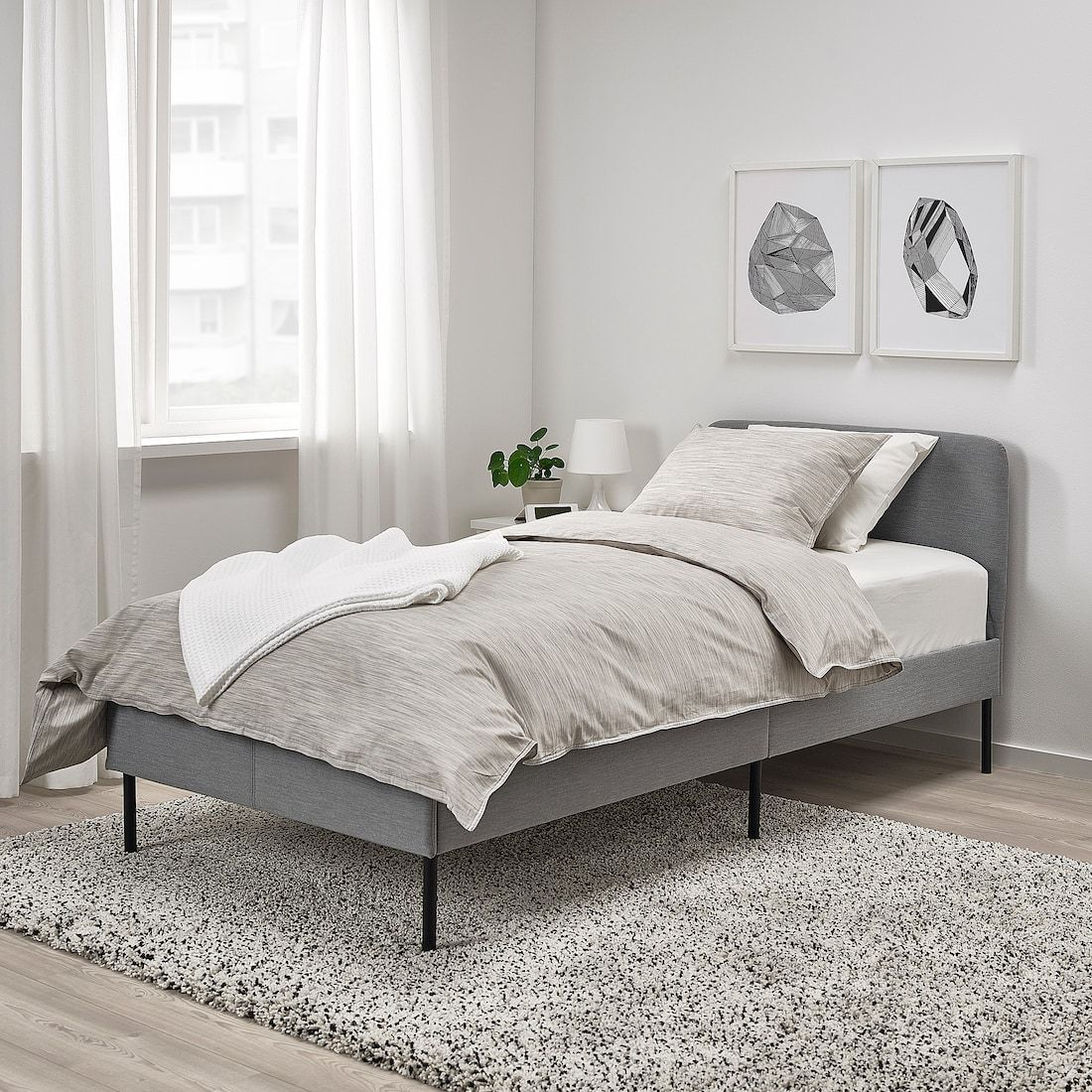 Slattum Upholstered Bed Frame Knisa Light Gray Twin