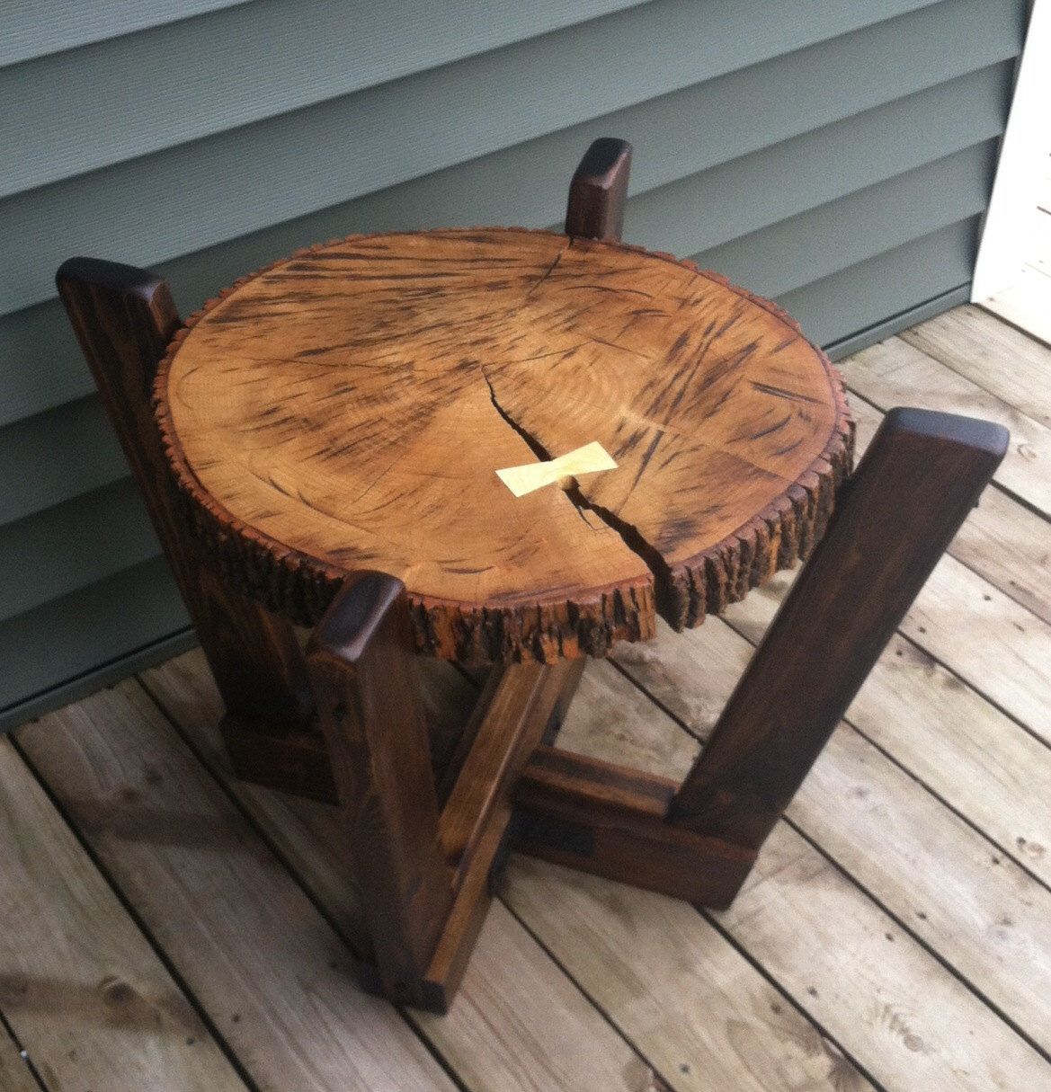 Log Slab Side Table Or Coffee Table With A Dutchman Wood Joint / Rustic  Sideu2026