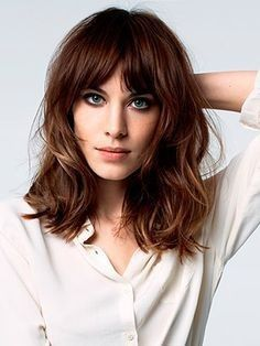 Mid Length Hair With Layers And Curtain Bangs Short Hair