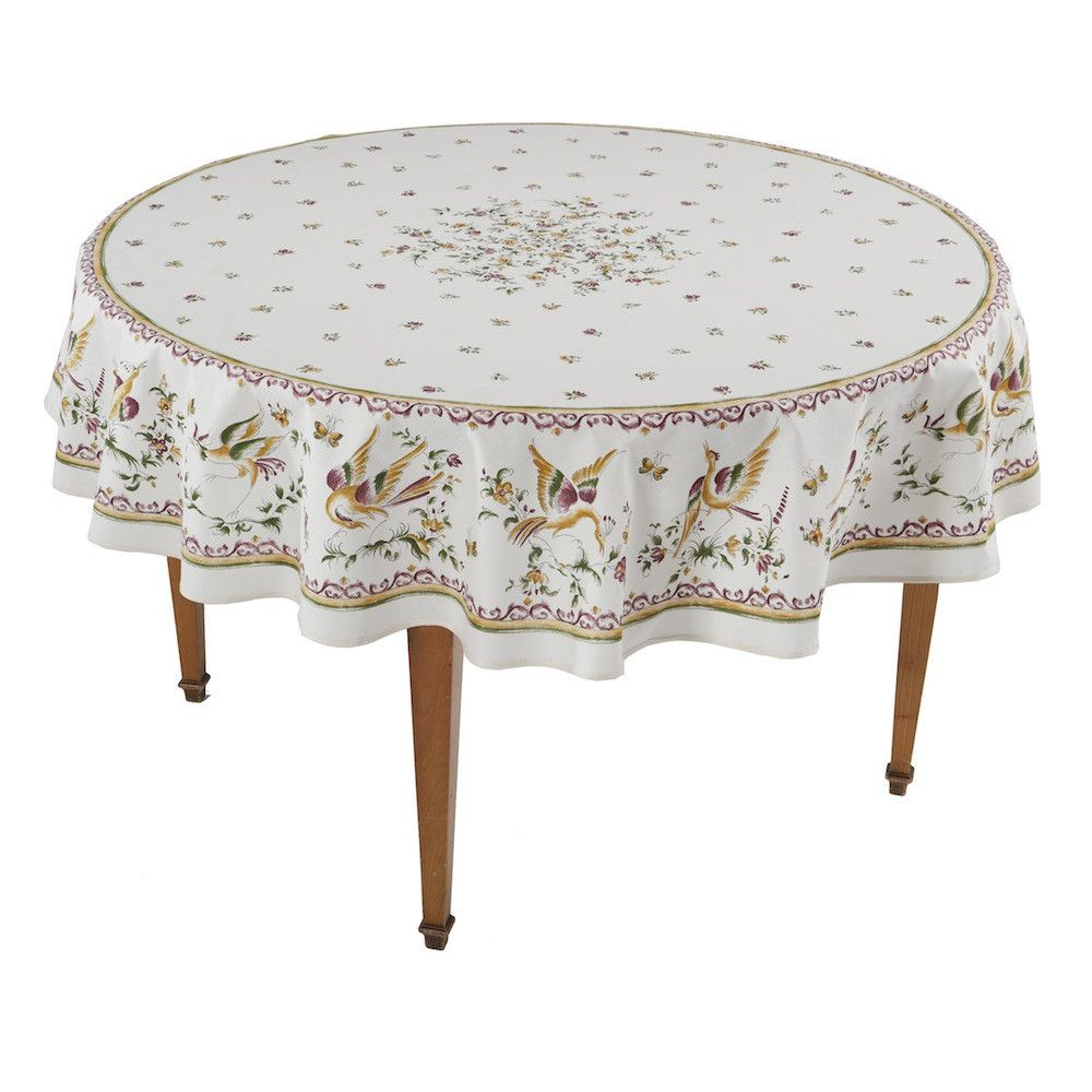 Moustiers Ecru Rose Round French Tablecloth French Tablecloths Table Cloth Vinyl Tablecloth