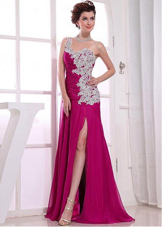 Chic Chiffon One Shoulder Neckline Floor-length A-line Prom Dress ...
