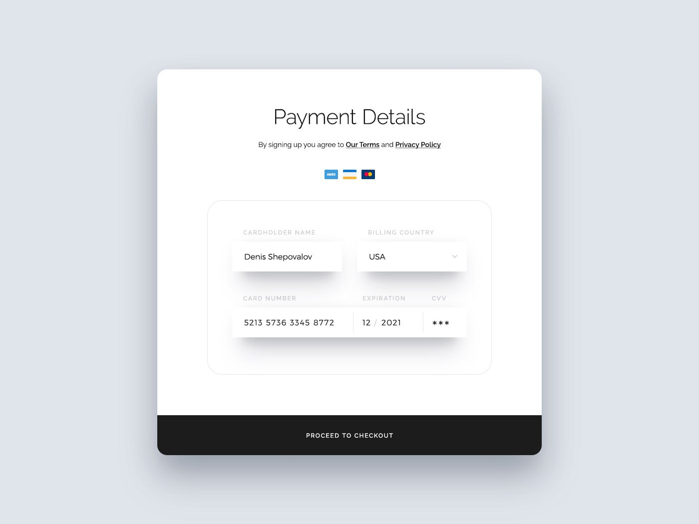 Available Now Credit Card Form Designed By Denis Shepovalov