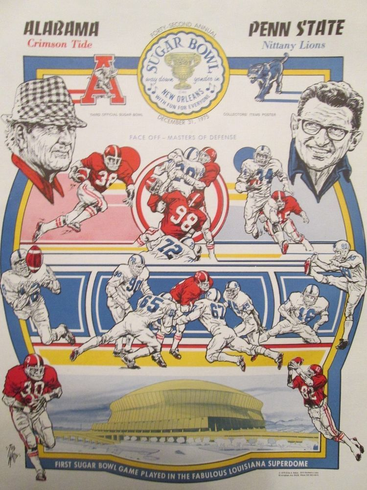 Alabama Football Vs Penn State 1975 Sugar Bowl Poster 1st Sugar Bowl In Dome Alabama Crimson Tide Football Penn State Nittany Lions Alabama Vs