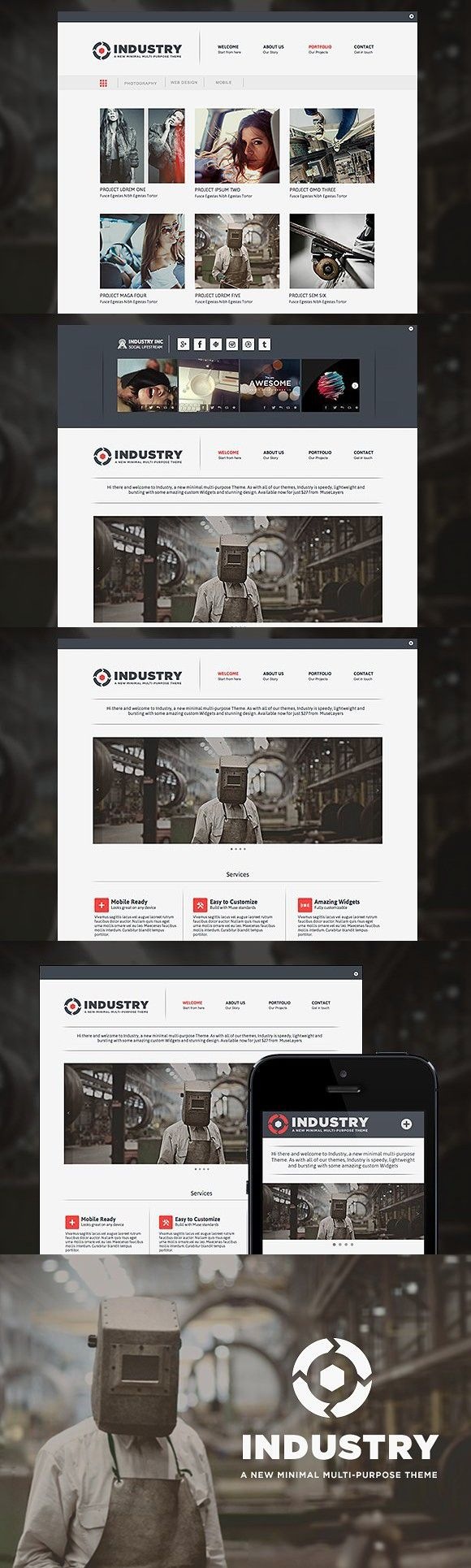 Industry Adobe Muse Theme Adobe muse, Web graphic