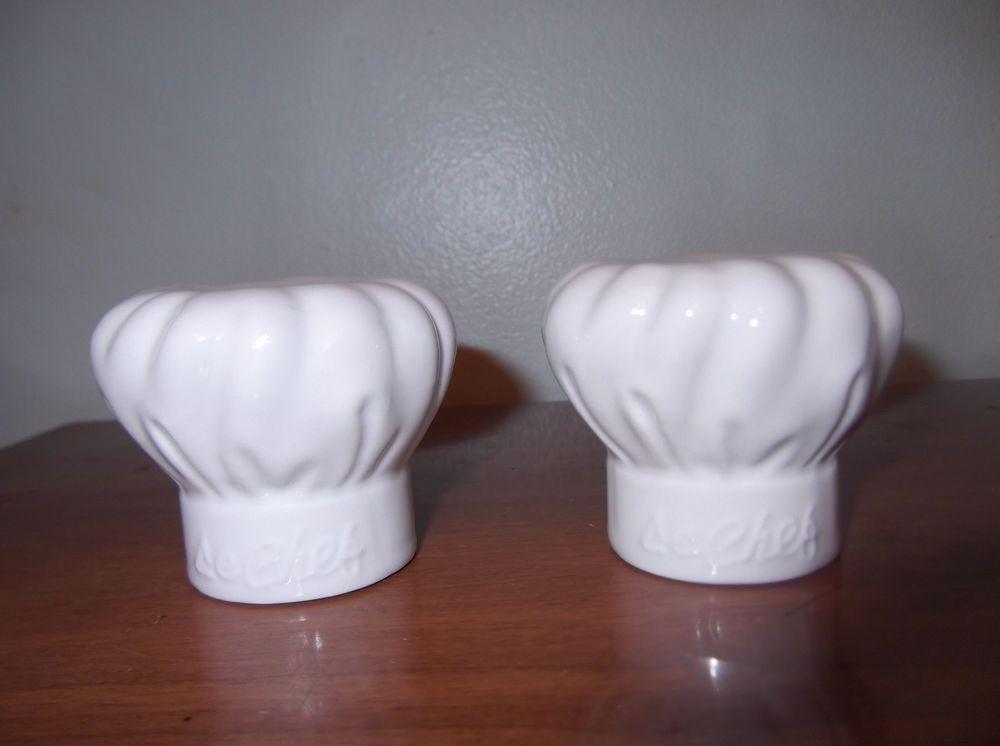 New white ceramic mini chef hat salt pepper shakers