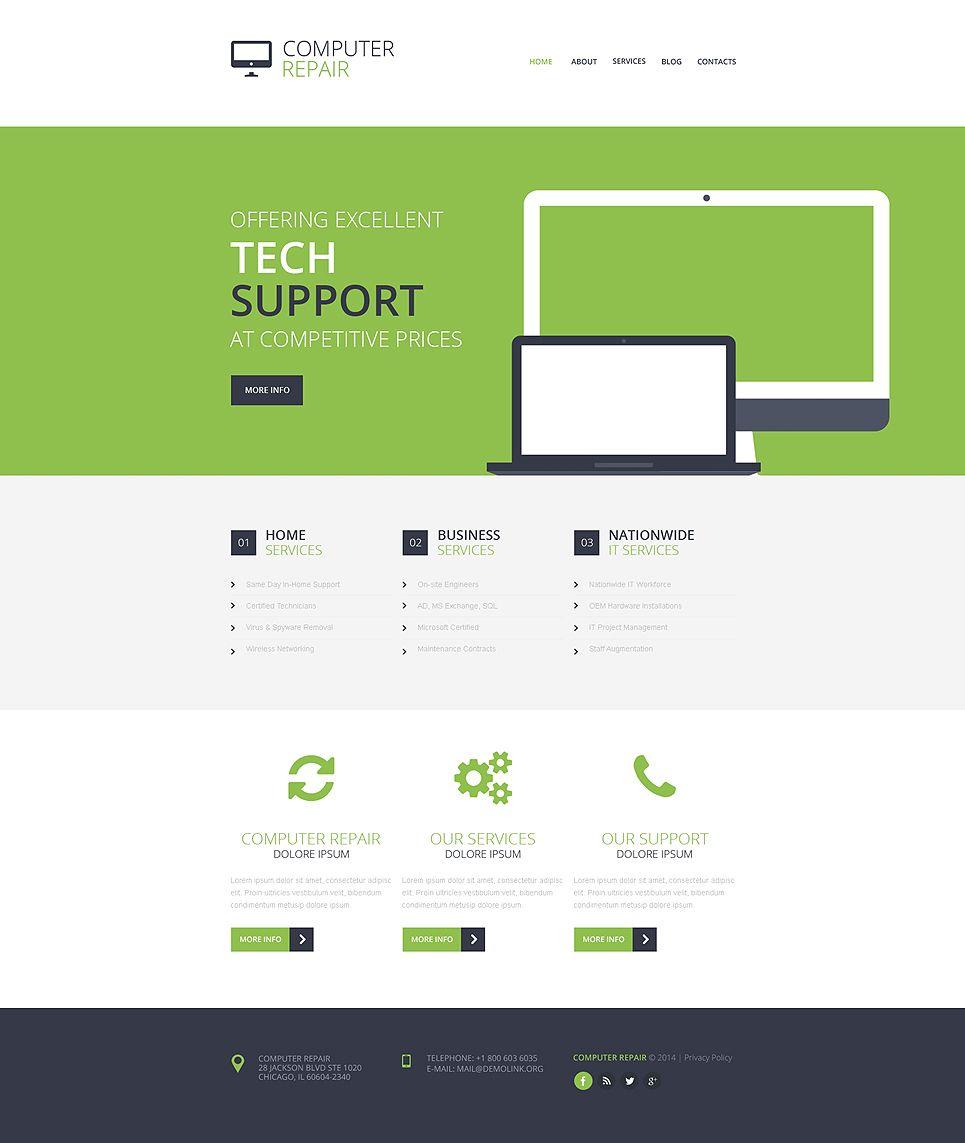 Computer Repair Responsive Website Template Repair Computer Responsive Computer Repair Website Template Web Design Software