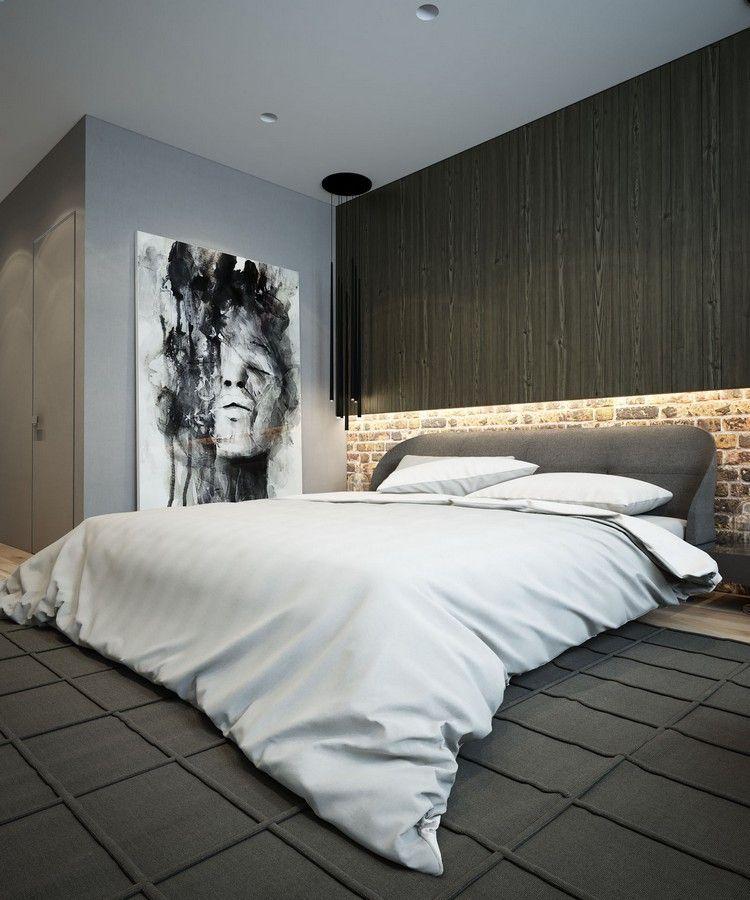Schlafzimmer in Grau - kunstvolles Wandbild und Led - moderne schlafzimmer farben