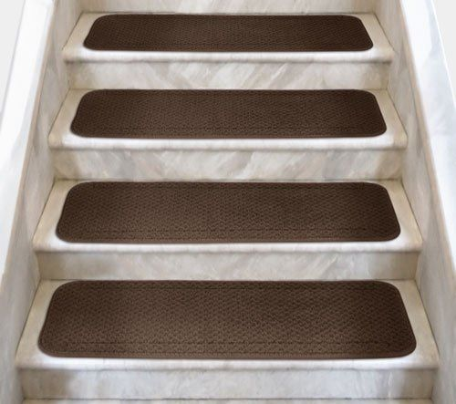 Best 12 Attachable Carpet Stair Treads Chocolate Brown 8 In 400 x 300