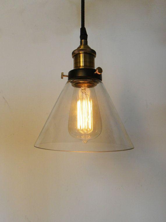glass cone pendant light edison antique lamp kitchen island ceiling fixture rustic lighting brass socket cone shade - Edison Bulb Pendant