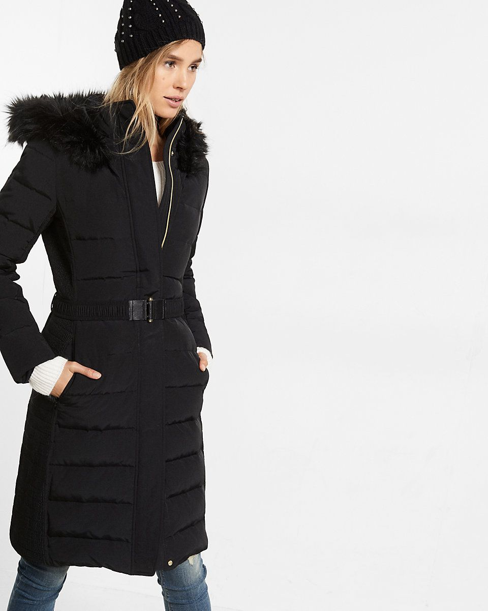 efcc54dbd44 down filled long belted puffer coat