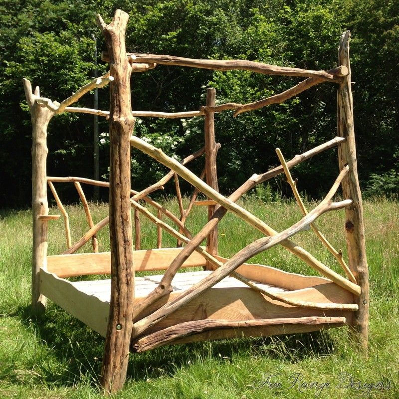 driftwood four poster tree bed 02 wood Pinterest Tree bed