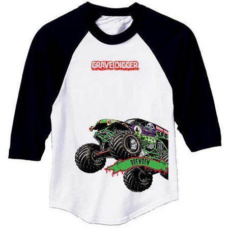 4a6161dc Personalized Monster Jam Grave Digger Boys' Sports Jersey, Boy's, Black /Whitesmoke