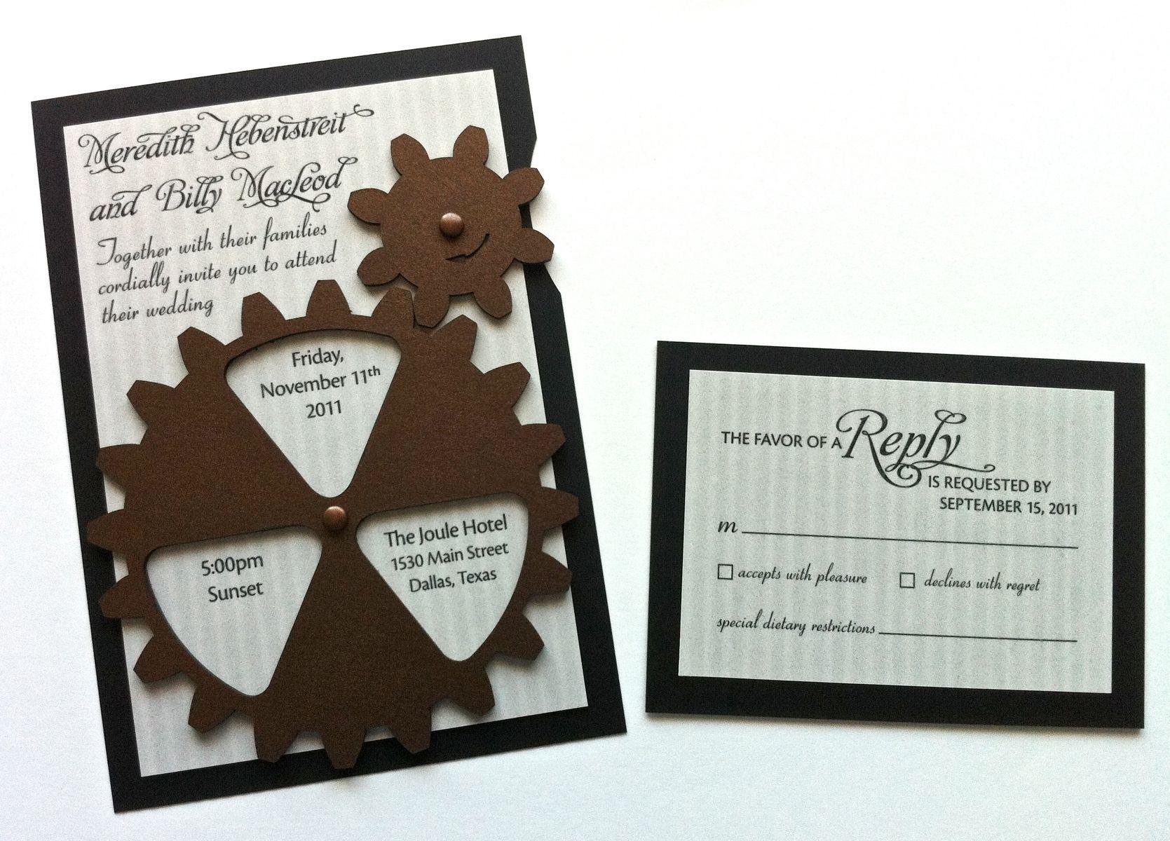 Custom Made Animated Gear Steampunk Wedding Invitation Wedding