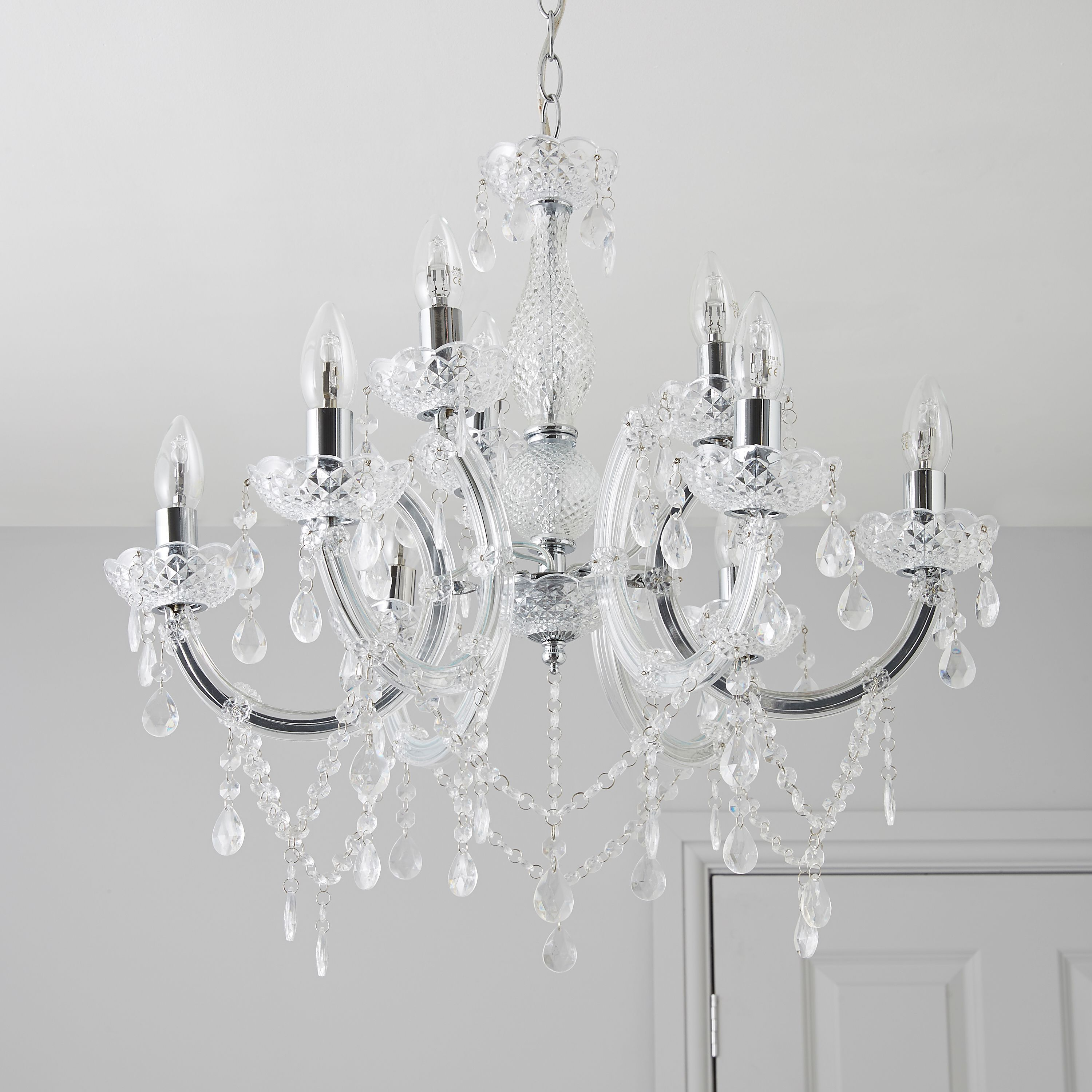 Annelise Crystal Droplets Silver 9 Lamp Pendant Ceiling Light