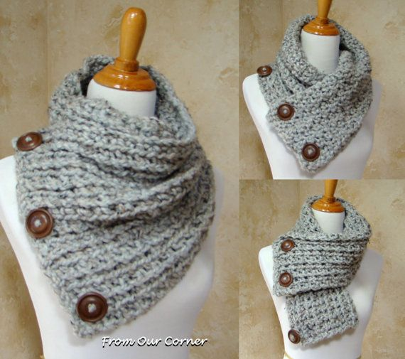 Boston Habor Style Scarf, 3 Button scarf, Grey Tweed Crochet Scarf ...
