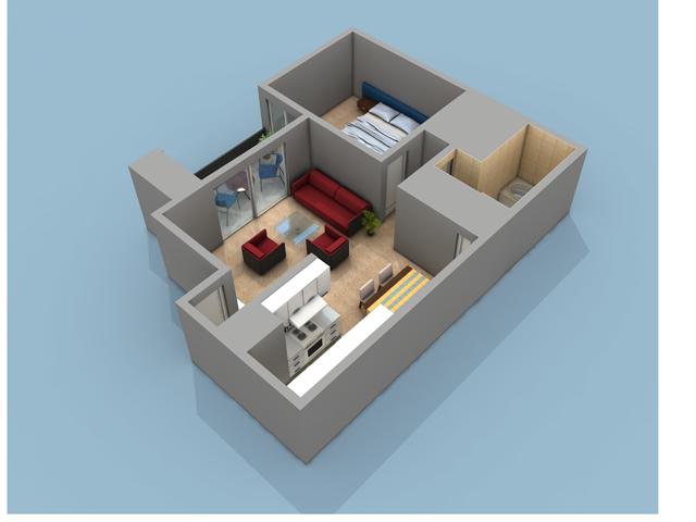 1 Bedroom, 1 Bath Floor Plan With 704 Sq. Feet Of Living Space  