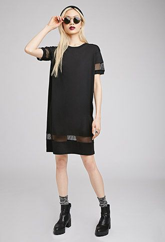 cd848bc29211 Mesh-Paneled T-Shirt Dress | Forever 21 - 2000052667 | Fashion: All ...