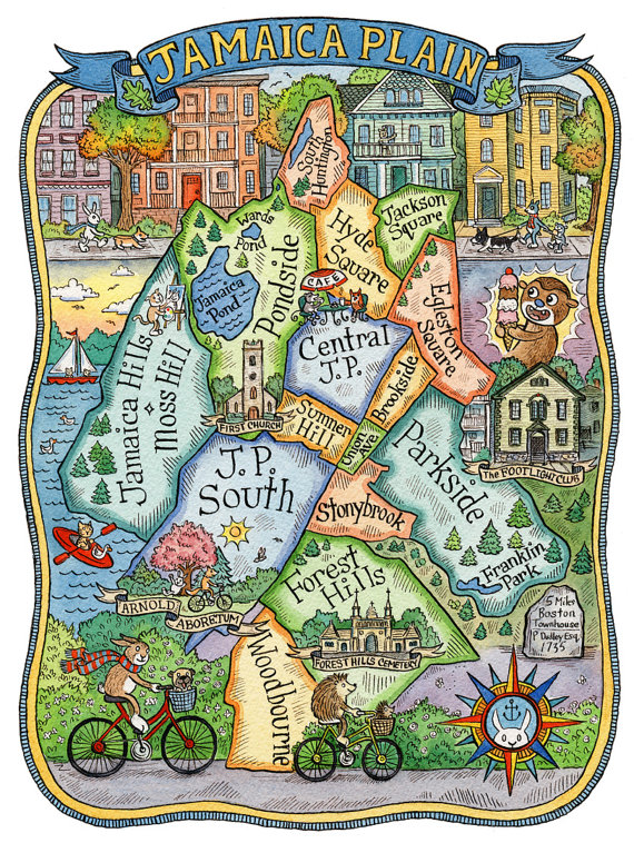 Jamaica Plain Boston Neighborhood Map Art Print X Jamaica - Boston neighborhood map