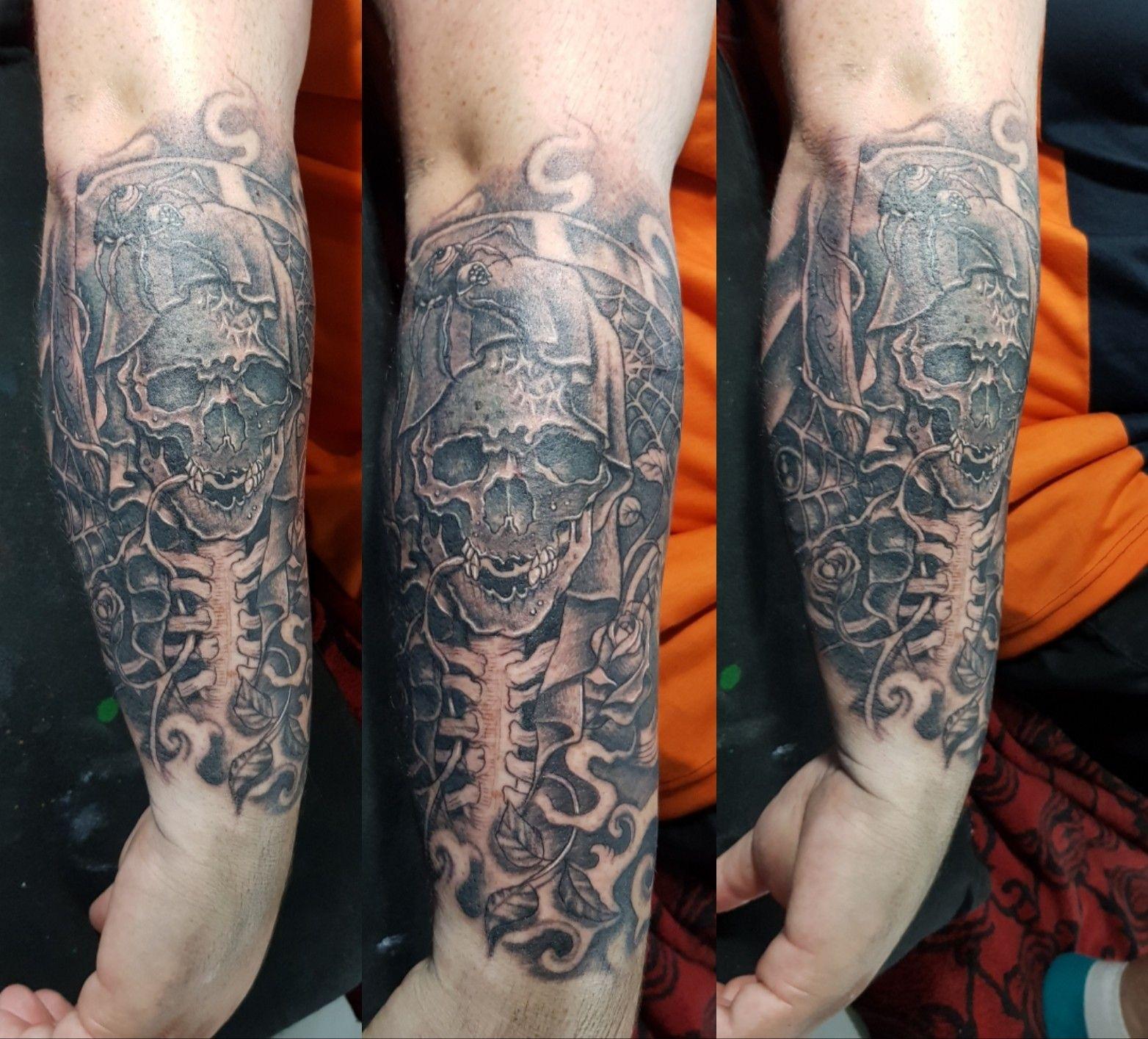 grim reaper tattoo done by me agung dana goerat tattoo