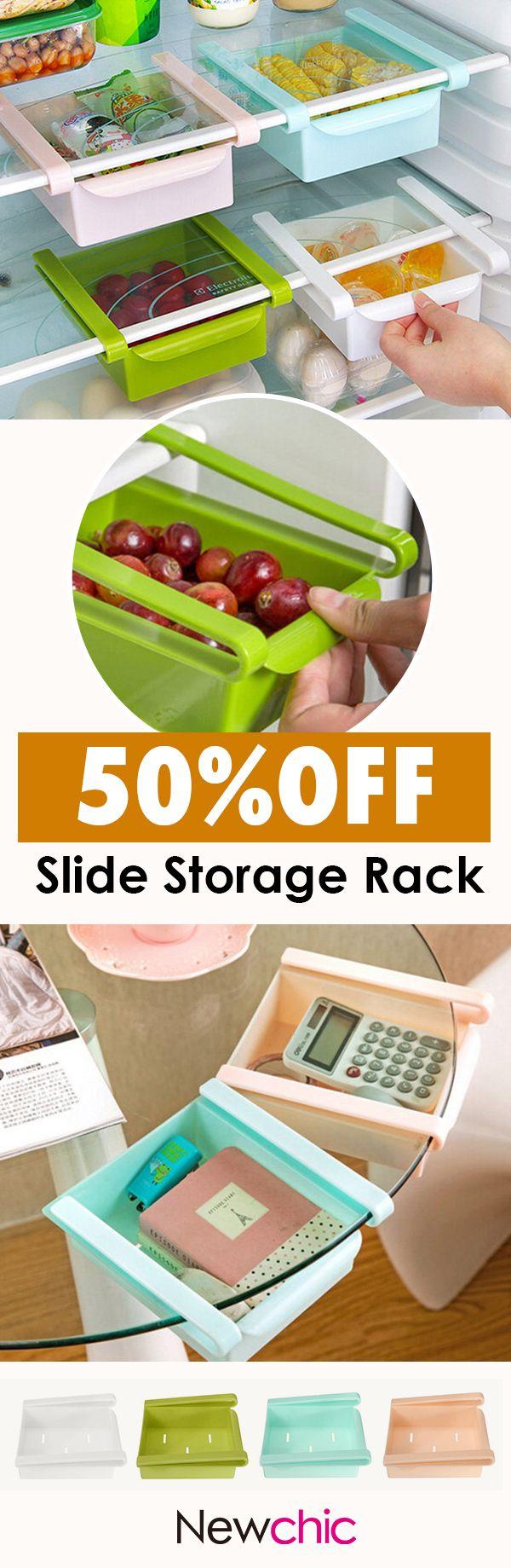 Us slide kitchen fridge freezer space saver organizer storage