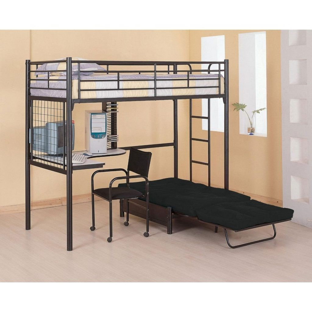 Jay furniture stair loft bed in cherry with desk kids black finish - Loft Bunk Bed With Futon Chair And Desk