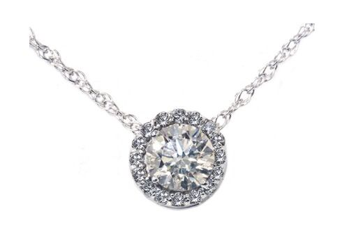 Diamond halo pendant (any kind but simple, noticeable, yet