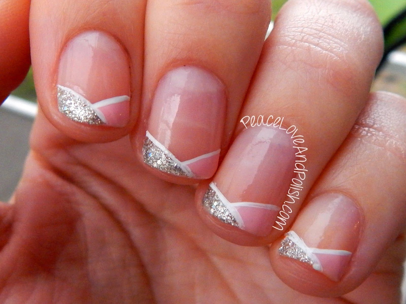 French tip nail art super easy pink and glitter french tip french tip nail art super easy pink and glitter french tip prinsesfo Images