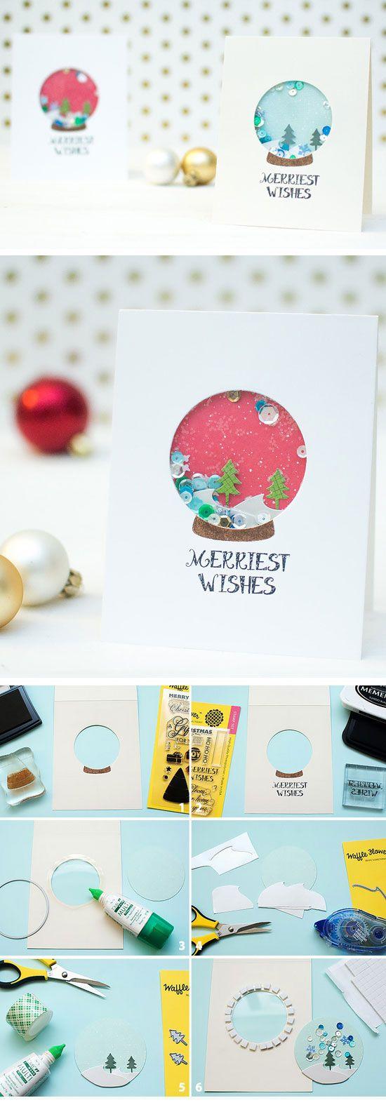 Snow Globe Shaker Cards | Click for 20 DIY Christmas Card Ideas for Families | DIY Christmas Cards for Kids to Make