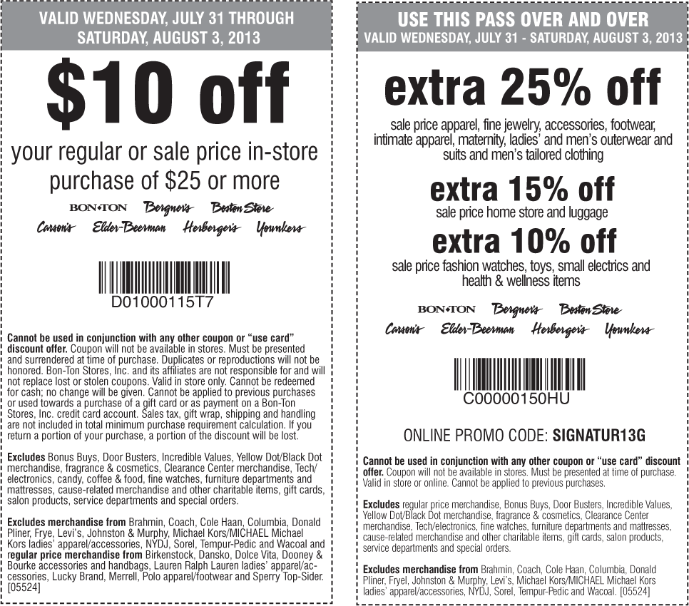 pinned july 31st extra 25 off sale apparel more at carsons bon ton sister stores or online via promo signatur13g coupon via the coupons app