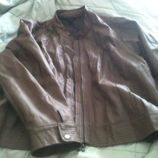 Leather jacket in a neutral brown. Another favorite of mine!