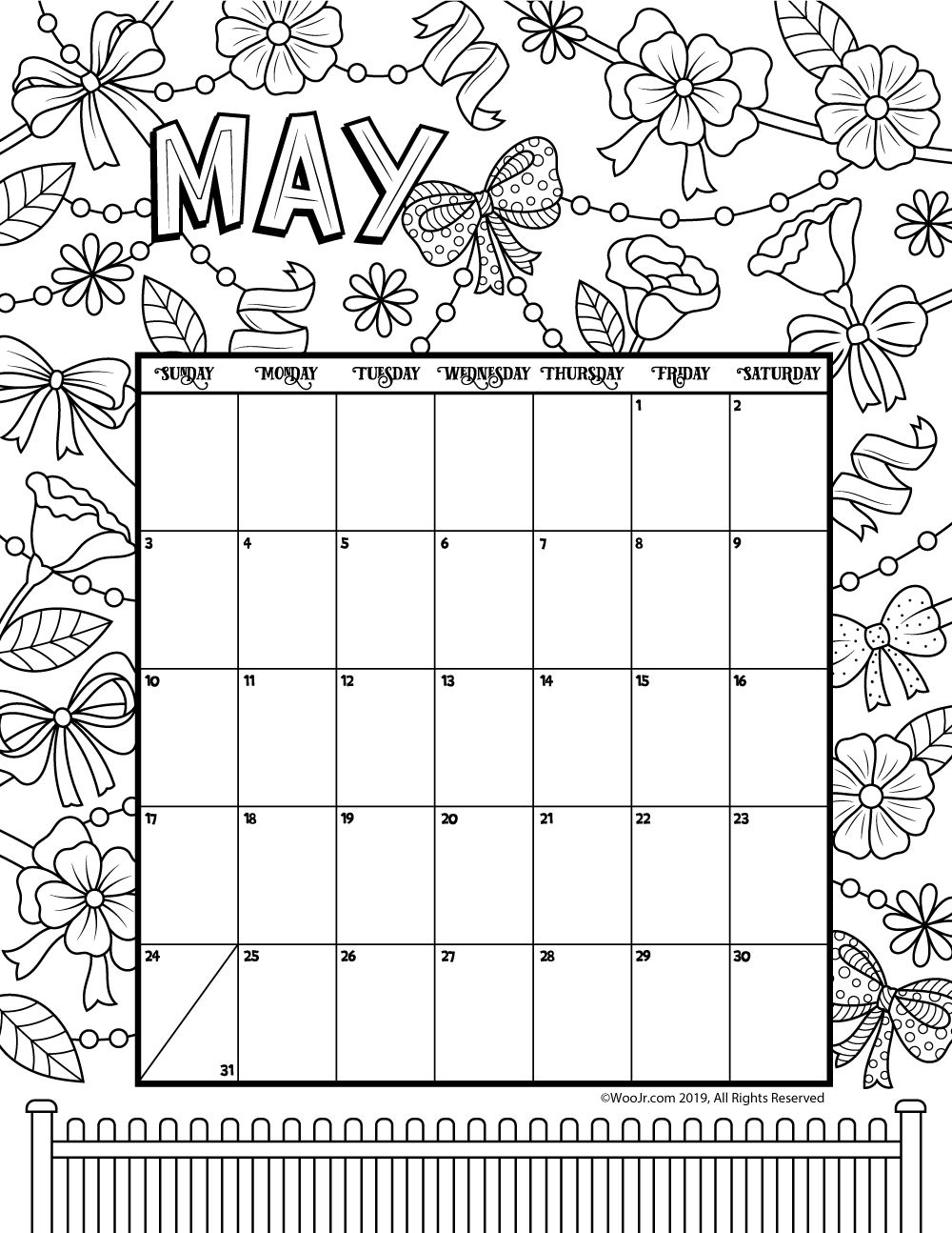 May 2020 Coloring Calendar Coloring Calendar Kids Calendar