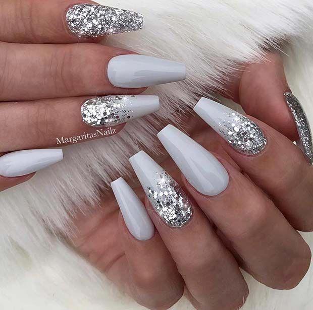 Grey And Silver Glitter Coffin Nails Nailart Ombre Nails Glitter Nail Art Hacks Silver Nails