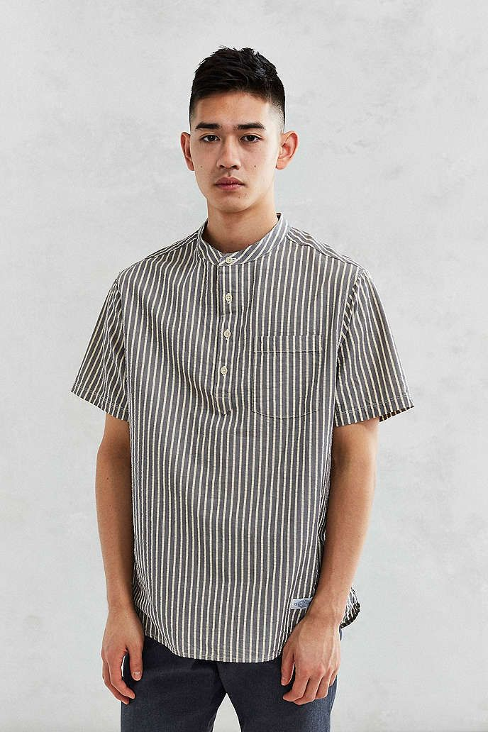 207ff9c187f5 CPO Seersucker Popover Band Collar Short-Sleeve Shirt - Urban Outfitters