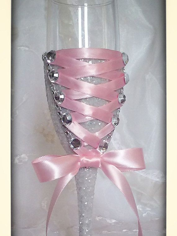 Check out this item in my Etsy shop https://www.etsy.com/listing/234902497/pink-and-grey-toasting-flute-for