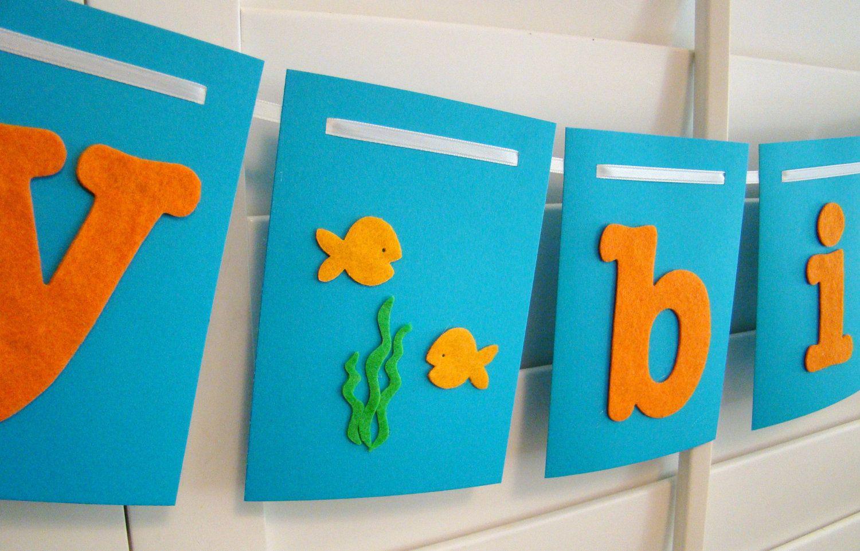 Happy Birthday Banner Garland Orange And Blue Under The Sea Fish