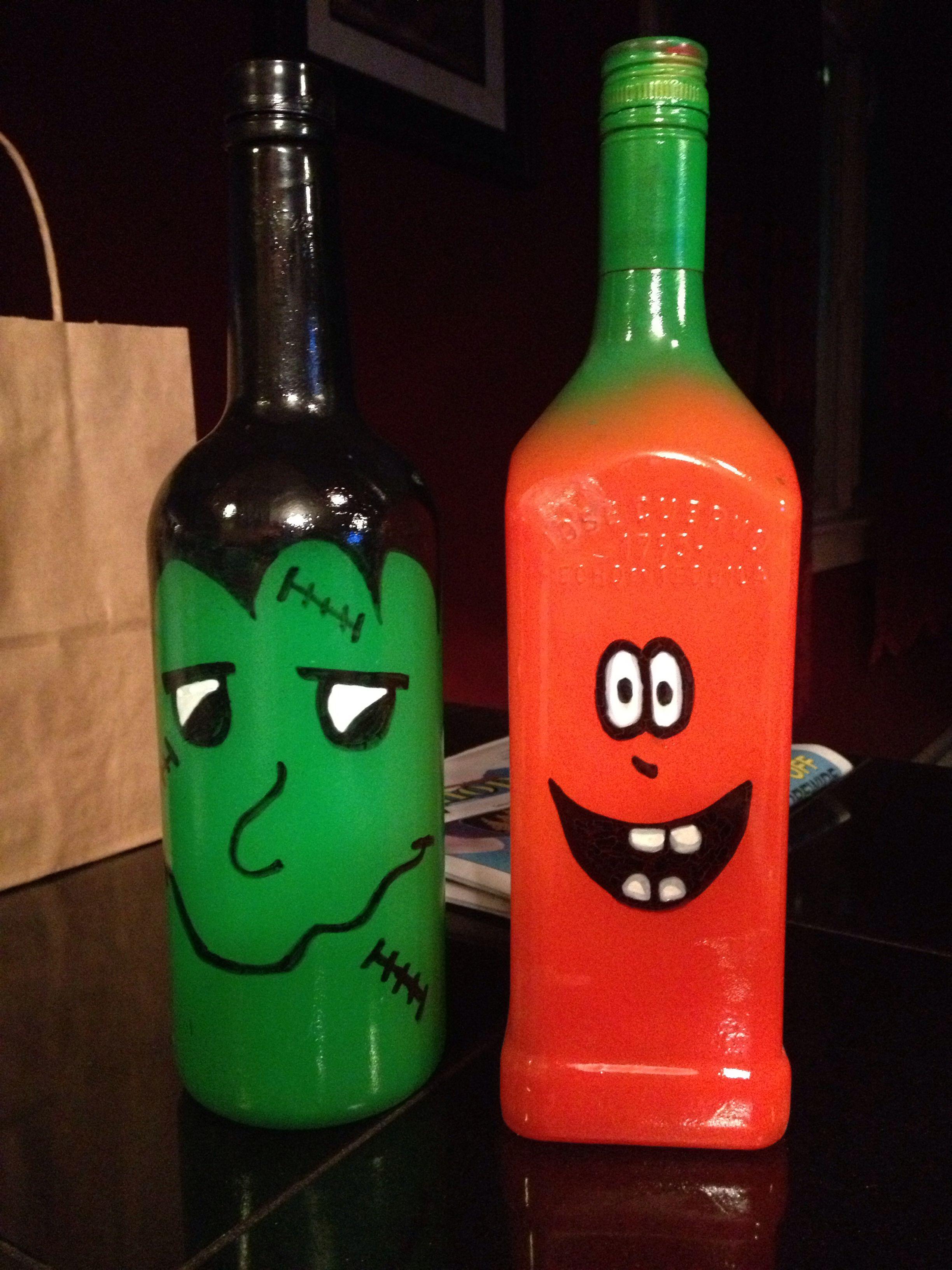 Recycled Bottle Blacklight Reactive Paint Neon Bottles Halloween Bottle Halloween Bottles Holiday Wine Bottles Glass Bottles Decoration