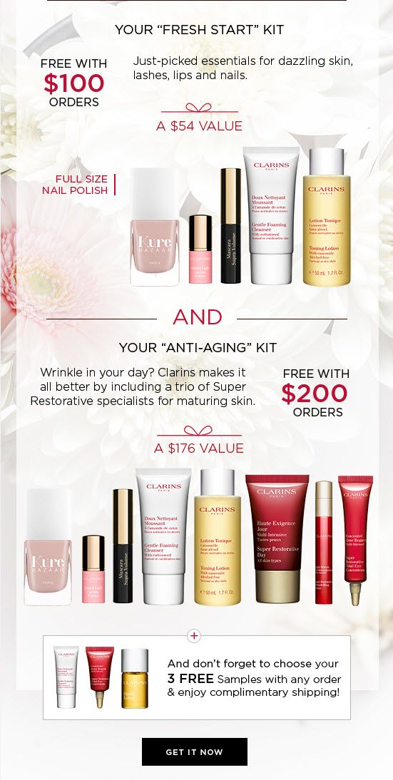 39267020040 Clarins 8-piece Free Bonus Gift with  200 Purchase at Clarins - details at  MakeupBonuses.com  Clarins  Clarins  GWP