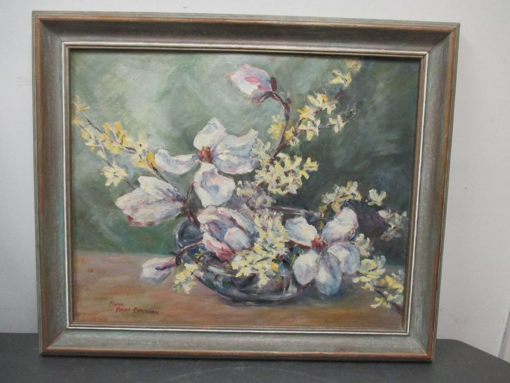 20 X 24 Acrylic Painting Flower Still Life On Board Signed Muriel