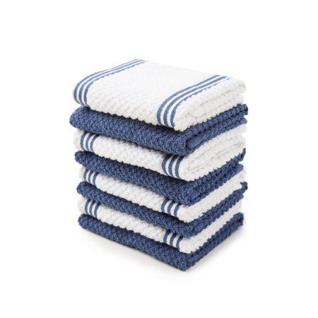 Sticky Toffee Cotton Terry Kitchen Dishcloth Dark Blue 8 Pack 12 In X 12 In Sticky Toffee Washing Clothes Cotton