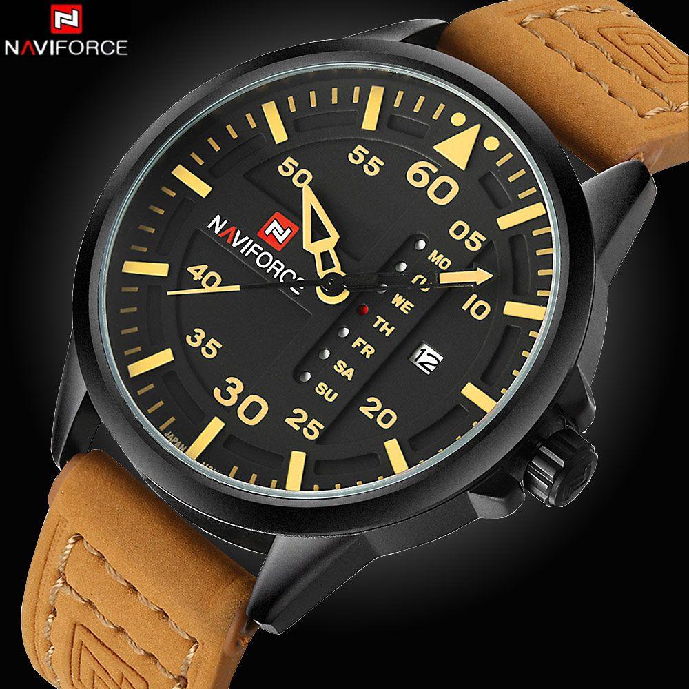 c2678f3e836 NAVIFORCE Marca de Luxo Data Japão Movt Praça Men Quartz Relógio Casual  Relógio…
