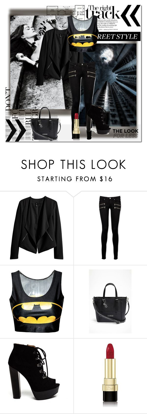 """""""Batman style"""" by tess-302 ❤ liked on Polyvore featuring H&M, Paige Denim, GUESS, Dolce&Gabbana, black, Dark, batman, AnneHathaway and TheDarkKnight"""