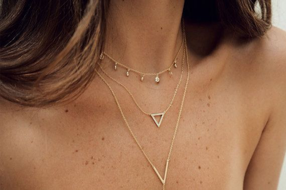 Delicate Triangle necklace Minimal Delicate by LuvMinimal on Etsy