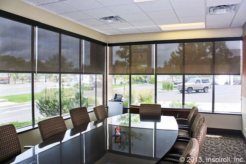 Bank conference room solar screen window treatments for Screen porch window treatments