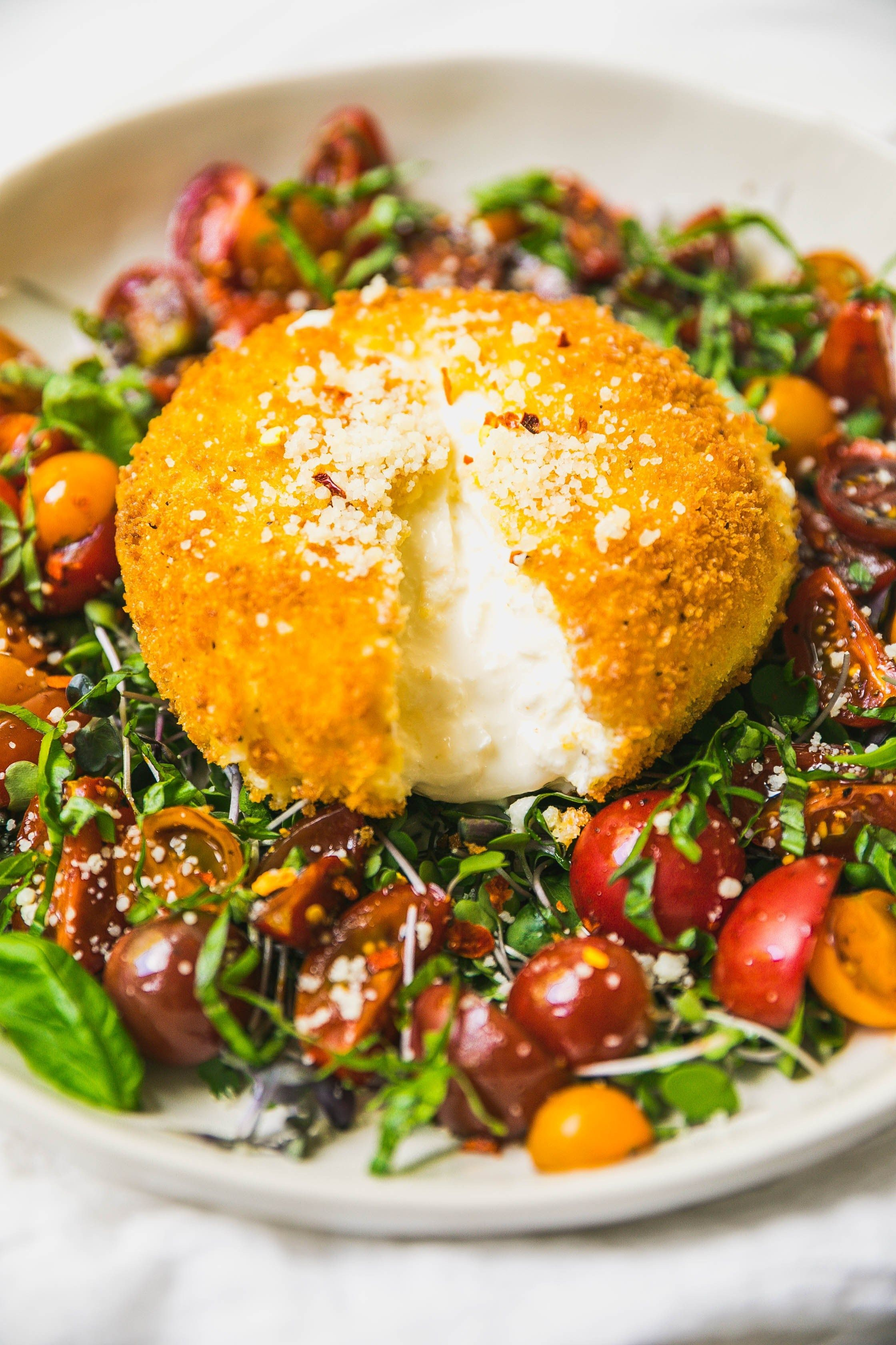 Fried Burrata with Balsamic Marinated Tomatoes