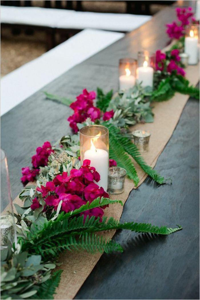 Deko Sommerfest deko sommerfest tischläufer und leinen rosa blumen grüne zweige