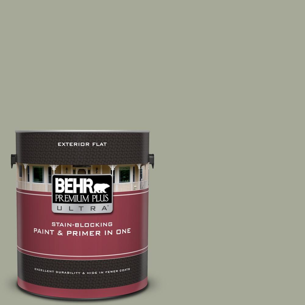 Behr Premium Plus Ultra 1 Gal Ppu10 16 Simply Sage Flat Exterior Paint And Primer In One Sage Green Paint Exterior Paint Interior Paint Palettes